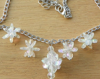 Snowflake jewelry set snowflake necklace snowflake earrings light weight jewelry sparkly jewelry crystal jewelry Christmas jewelry winter
