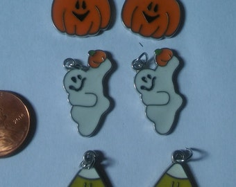 Enameled Halloween Charms   Ghost Pumpkin Candy corn