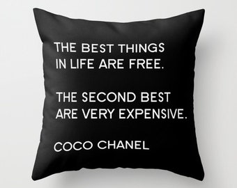 Fashion Quote Pillow, Glam Decor, Pillows with Sayings, Black and White Pillow Covers 18x18 22x22, Velvet Cushion Cover, Gifts for Women