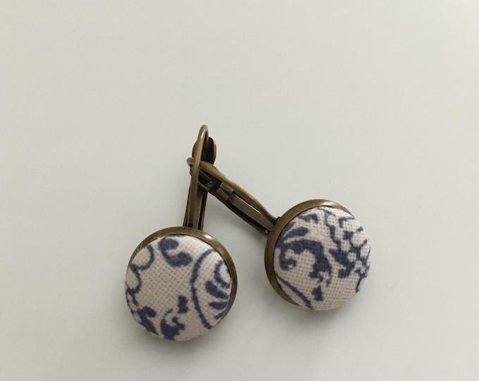 -Sleeper - finished bronze earrings - Handmade fabric cabochon