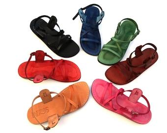 Genuine Leather Strappy Sandals for Women, Flip-Flops, Flats, Thongs, Comfort Walking Shoes, Slides, Designer, Ladies, LONDON