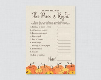 Pumpkin Bridal Shower Price is Right Game - Printable Fall Bridal Shower Price is Right - Autumn Bridal Shower, Rustic Pumpkin 0019