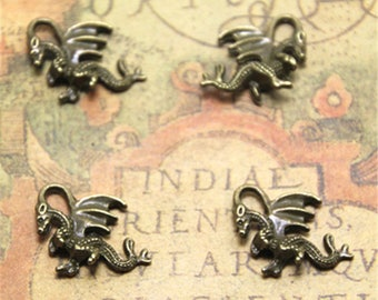20pcs bronze tone Dragon Charms 3D Dragon Pendants Fantasy Charms Dragon Beads 21x13mm ASD1908