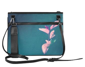 Blue Shoulder Bag, Women's Bag, Nature Inspired bag, Nylon Bag, Water Resistant bag, Crossbody Bag, Asian Style Bag, Floral Bag, Handbag