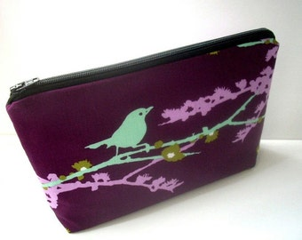 Large Cosmetic Zipper Pouch Large Cosmetic Bag Flat bottom Zipper Pouch Padded ECO Friendly Sparrows on Plum