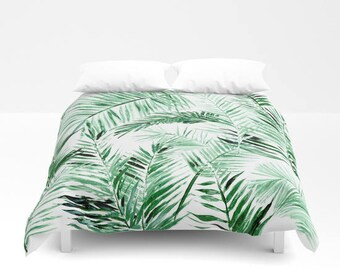 Palm Leaf Duvet Cover, palm bed cover, tropical duvet cover, green white duvet, palm leaf duvet, palm leaves duvet, palm leaf bedding