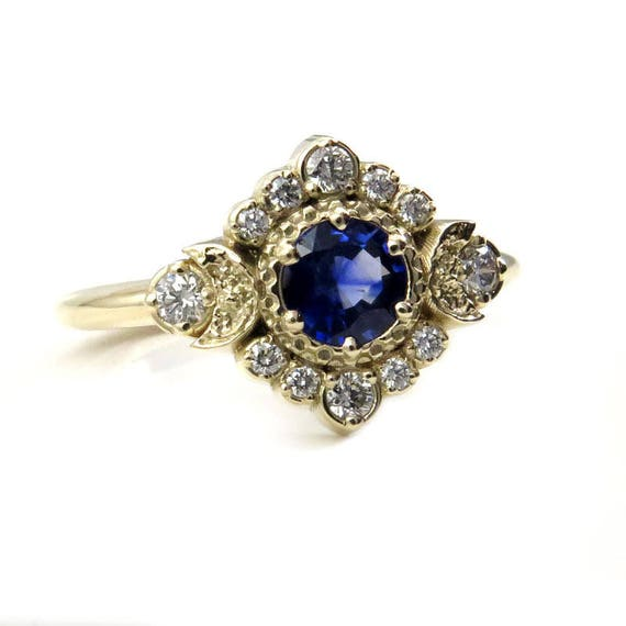 Ceylon Sapphire Engagement Ring - Crescent Moons with a Diamond Halo
