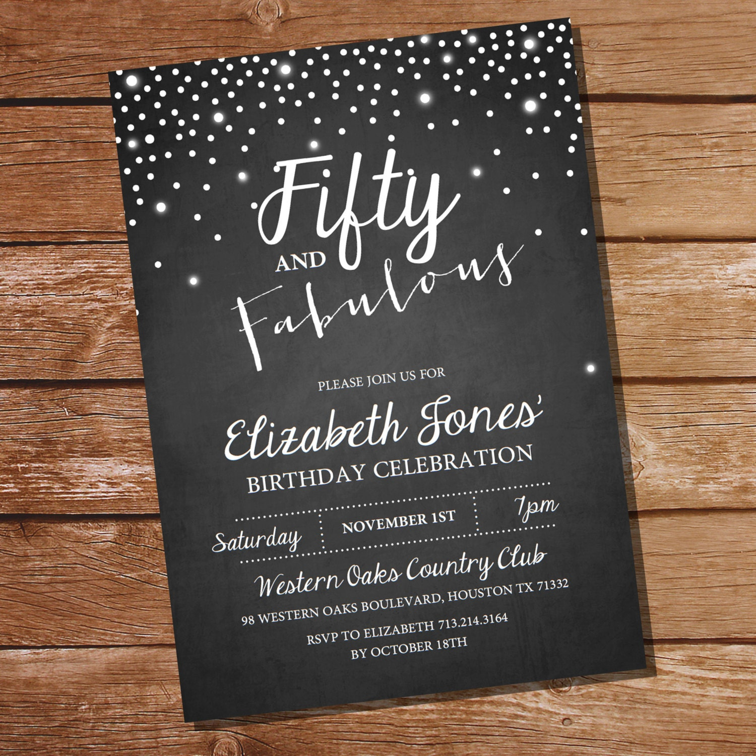 Fifty and Fabulous Chalkboard Birthday Invitation 40th 50th
