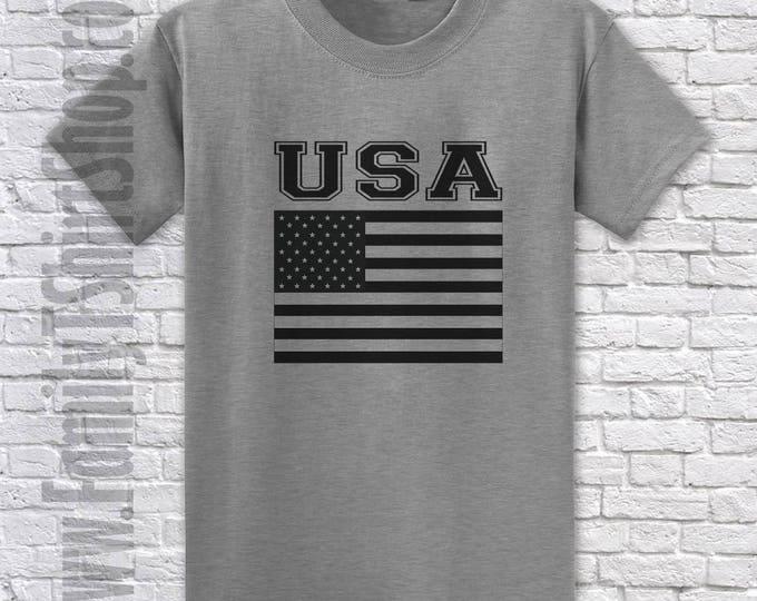 USA Flag Black and White T-shirt