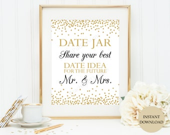 Date jar sign 8x10 (INSTANT DOWNLOAD) - Date jar - Date night sign - Date night jar - Date night ideas W001