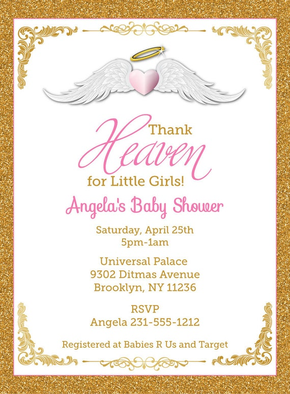 Thank Heaven for Little Girls Baby Shower Invitations Unique