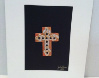 JR314 Mixed media collage cross