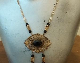 Vintage Czech Black Glass Bronze Filigree Necklace Bohemian European