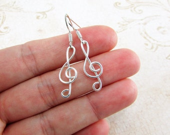 Treble Clef Earrings, Sterling Filled Wire, Treble Clef Jewelry, G Clef Earrings, Music Note Earrings, Music Gift Ideas, Musician Gift