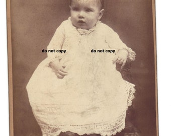 baby in fancy white gown, baby ring, cabinet card photo, antique photograph, vintage photography