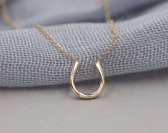 14k solid gold horseshoe necklace good luck necklace lucky necklace