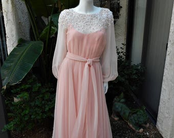Vintage 1980's Victoria Royal Pink Chiffon Evening Gown - Size 10