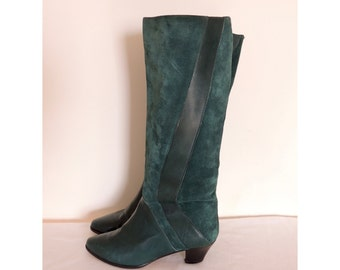 Vintage 1980s fine Italian leather boots | 80s green suede boots | harlequin boots | green boots | stacked heel | riding boot | 6.5 B