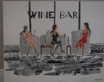 Wine Bar - Original Acrylic Painting by Hilary Thursfield on Canvas