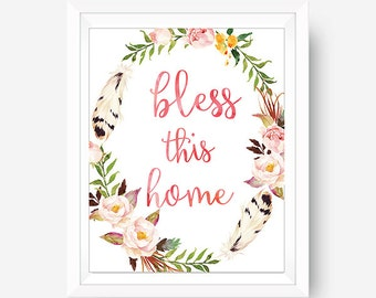 Bless this Home, House Warming Foyer Wall Art Entry Way Wall Art Home Sweet Home Home Decor Apartment Decor Christian Wall Art Christian Art