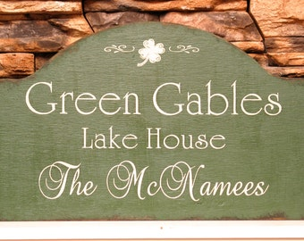 Rustic personalized custom Lake House or cabin shabby sign with and Irish look, cabin decor, rustic cottage sign