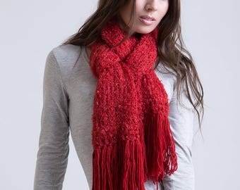 Scarf with Wool Tassels in Red Hot Salsa