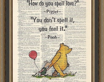 Winnie the Pooh quote How do you spell love,printed on a vintage dictionary page. Baby Shower Gift, Nursery Wall Decor, Pooh Bear.