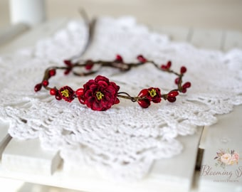 RTS Red FLOWER CROWN, newborn halo, Newborn Flower crown
