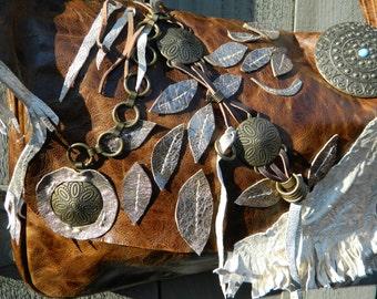 Handmade Leather Steampunk computer laptop messenger crossbody purse bag