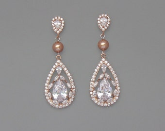 Rose Gold Earrings, Crystal Bridal Earrings, Rose Gold Bridal Jewelry, Vintage Style Pearl & Crystal Earrings,  COCO Pearl