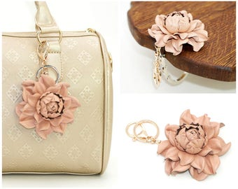 2 in 1 : Tabletop Purse HANGER + Peach Pink Flower BAG CHARM | Real Leather Light Rosy Rose Handbag Charm Folding Table Purse Hook key chain