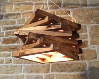 rustikale Holz Licht, rustikale Deckenleuchte, Holz Leuchte, rustikale Pendelleuchte, Spiral-Lampenschirm, rustikale Beleuchtung