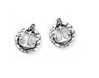 set of 3 charms anchor ship sailor sea fisherman Silver (W64)