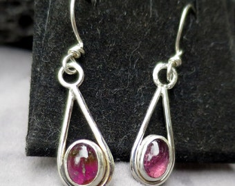 Delicate Pink Tourmaline Dangle Sheppard Hook Sterling Silver  Handmade Drop Earrings