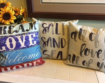 18x18 Word Linen Pillow Covers Salt Sand Sea Dream Love Welcome Hope All of Me Loves All of You