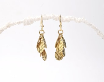 Gold Leaves Earrings. Tiny Leaves Earrings. Nature Earrings. Simple Leaf Earrings. Minimalists Leaf Earrings. Cascade Earrings