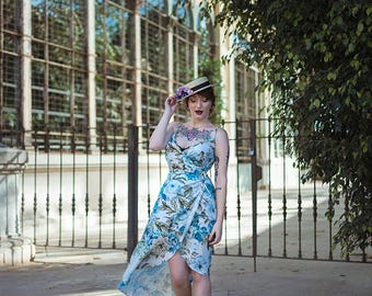 Botanical Wrap dress summer long gown botanical print floral dress