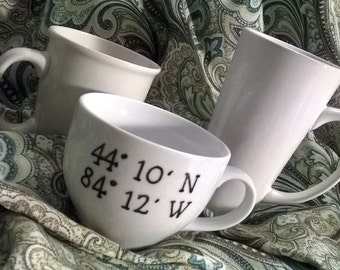 Upcycled Personalized Mugs with Longitude and Latitude