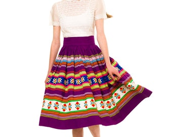 1950s Vintage Rare Seminole Indian patchwork skirt.  Size: XS/S/M