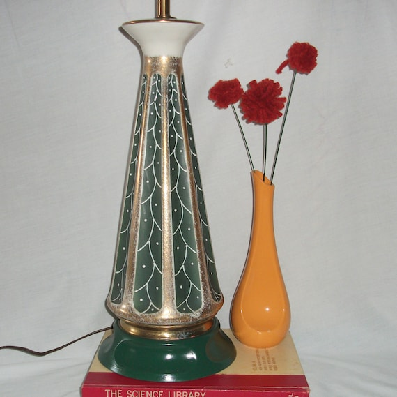 Mid Century Rembrandt Lamp: Vintage Rembrandt Torchiere Lamp Green & Gold Ceramic