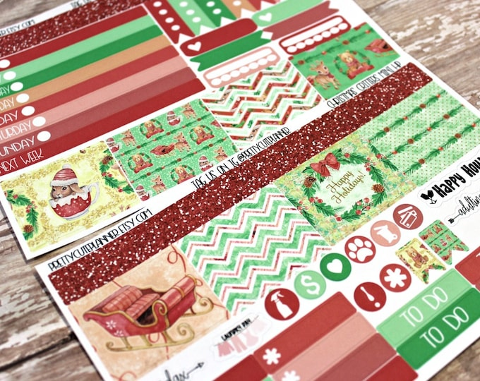 Christmas Planner Stickers - Mini Happy Planner Stickers - Personal Planner Stickers - Travelers Notebook Stickers - BuJo Stickers