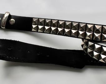 Studded leather & metal belt