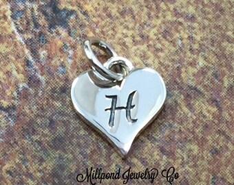 Initial Charm, Letter Charm, H Charm, Letter H Charm, Heart Letter Charm, Alphabet Charm, Sterling Silver Charm