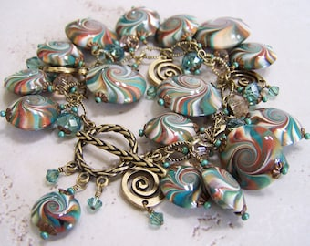 Treasure Isle... Handmade Jewelry Bracelet Beaded Cha Cha Polymer Clay Crystal Chain Teal Turquoise Bronze Copper Antique Brass Swirl Spiral