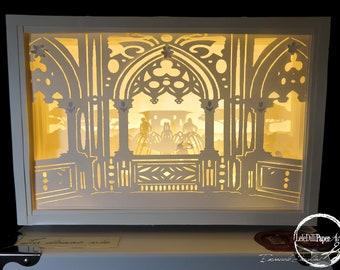 LA BONNE VIE-Light box-Shadow box-Regalo-Fatto a mano-Handmade-Wedding-Love-Regalo originale-Paper-arte-Papercutting-Paper cut art