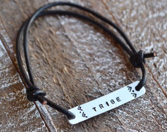 Tribe bracelet, hand stamped bracelet, leather wrap bracelet, stamped bracelet, leather bracelet, hand stamped jewelry, custom bracelet