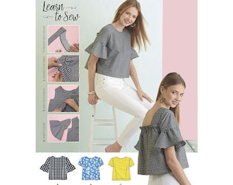 Sewing Pattern for Misses' Top with Back Interest, Simplicity Pattern 8335, LEARN TO SEW Pattern, Misses/Girls Short Top, Beginners Pattern