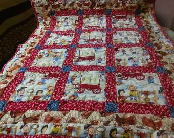 Handmade Pieced-Boy Cowboy Baby Crib Lap Quilt Blanket  Red and Blue Made in Arkansas Ozarks