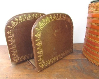 Faux Leather Bookends Office Library Decor