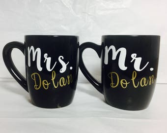 Set of mr. and mrs. coffee cup, bride and groom coffee mugs